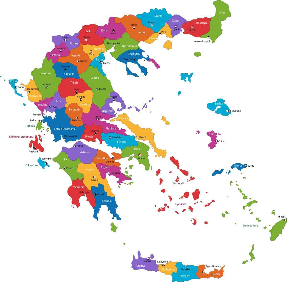 colourful map of greece and greek islands