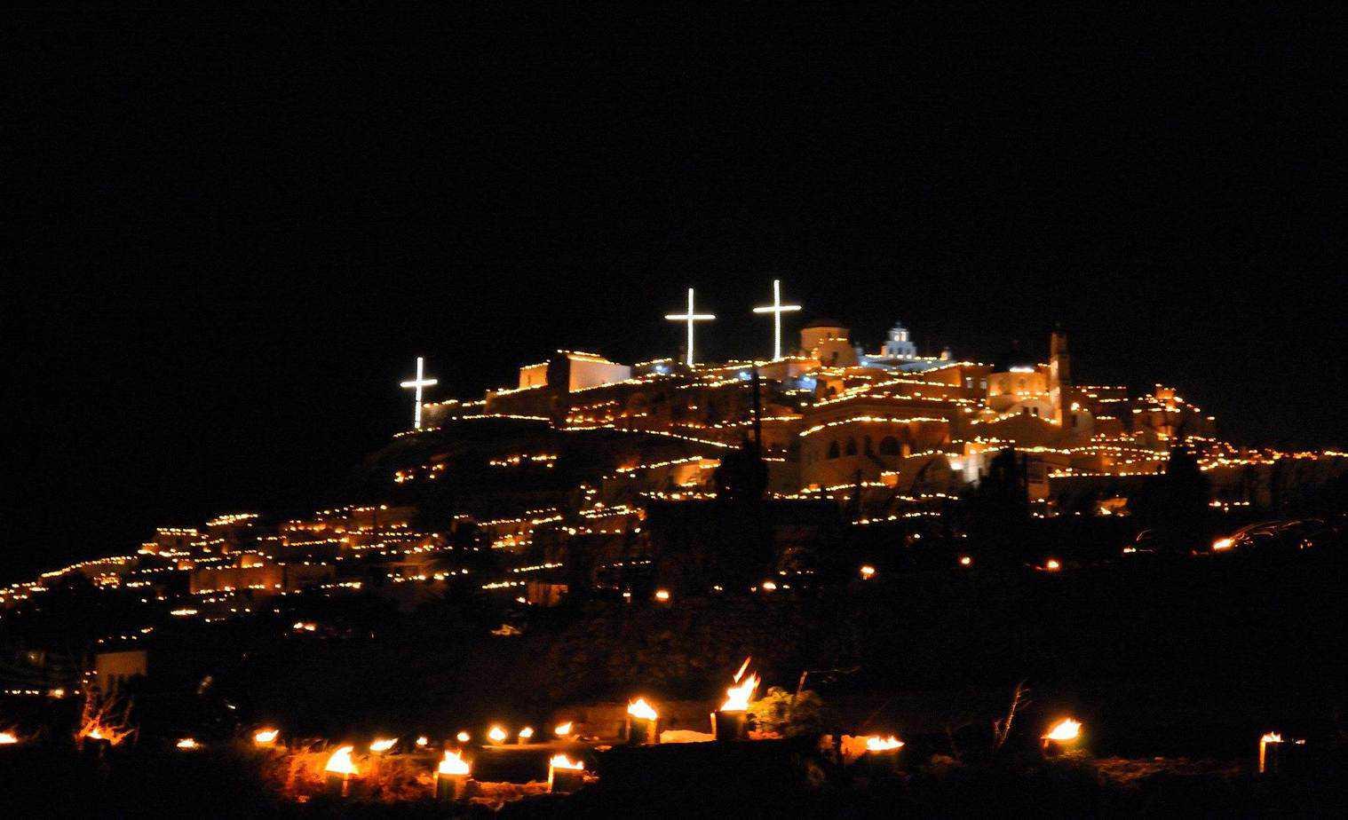 santorini easter lights