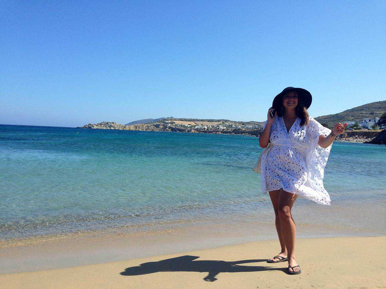 paros beach with girl
