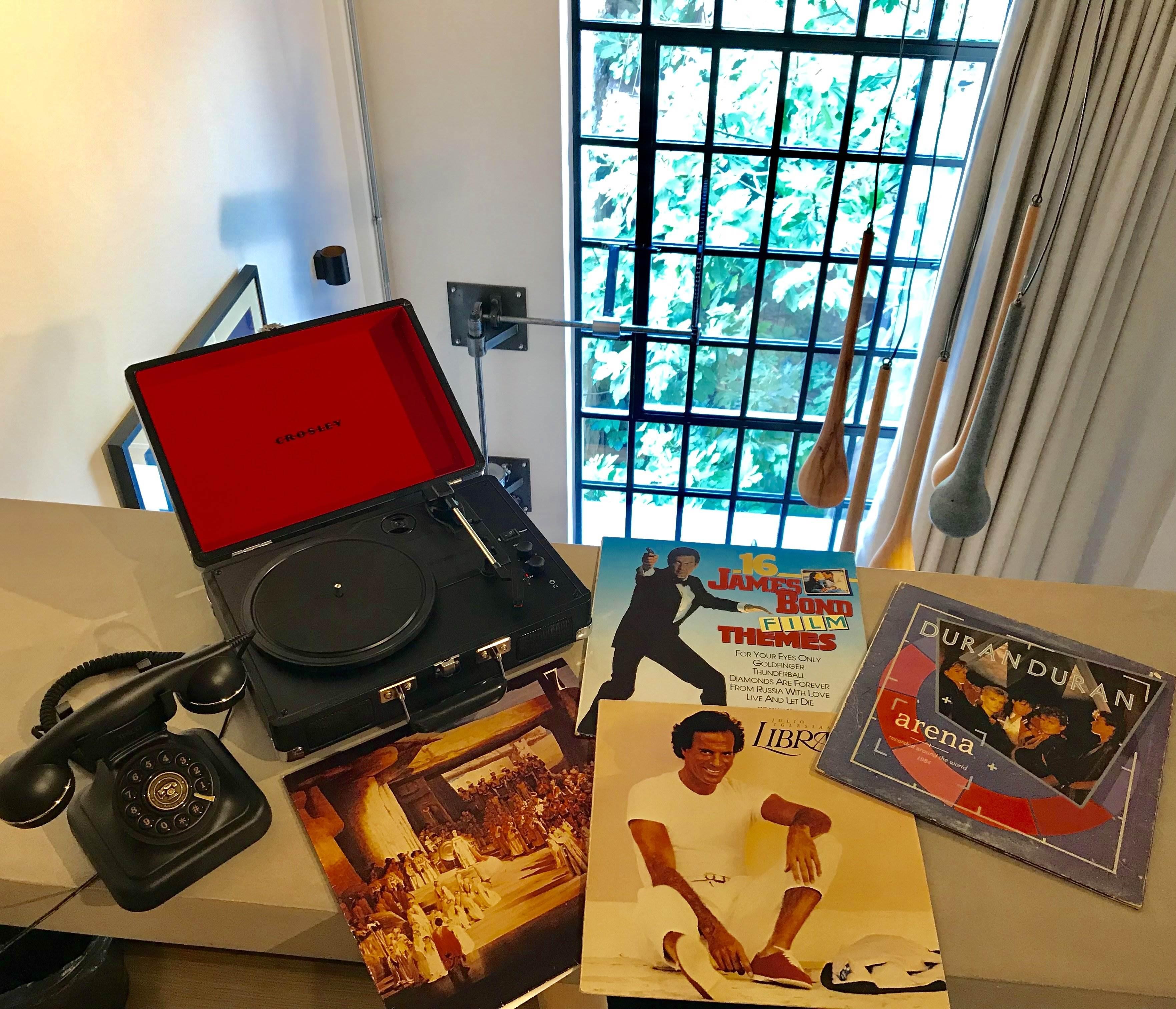 retro record player in hotel room
