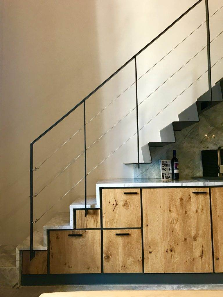 staircase on kitchen bench