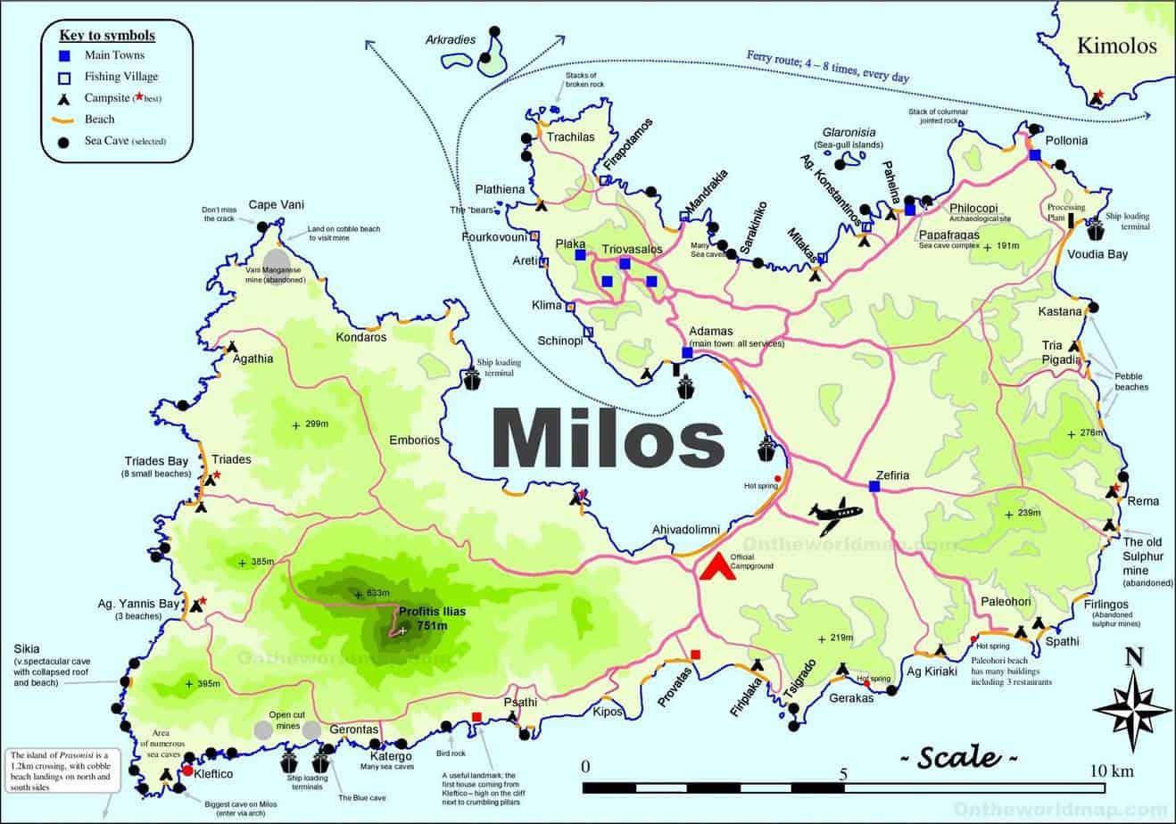 map of milos